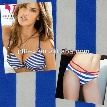 Navy style blue and white striped bikini fabric, swimwear fabric