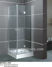 Polished aluminum abs or acrylic tempered glass shower cabin bathroom bathtub size shower enclosures