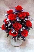 2013 hot sell 18 heads rose flower bouquet,silk bush flower,cheap artificial flower