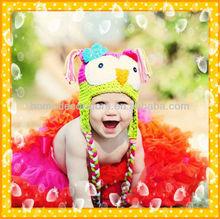 Cute OWL baby hat , Crochet knitting owl hat for children,Rose red, fluorescent green