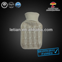 AZO knitted hot water bottle cover grey twist