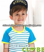 children 100% combed cotton color strip t shirt