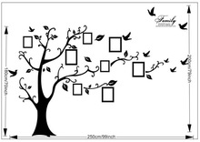 ZY94AB-200*250cm Black bird Family LIke tree PHOTO tree decal wall stickers home decor/Home Decor/Removable Wall Decals 2013 New