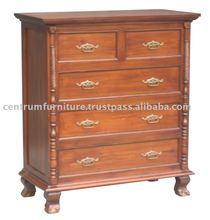 5 Drawer Solid Mahogany Wood Jepara Tallboy