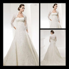 2013 latest Saudi Arabia and other countries a-line 3/4 long sleeve lace appliques wedding dress with sexy jacket ws026