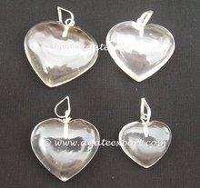 Brazilian Crystal Quartz Heart Pendants.