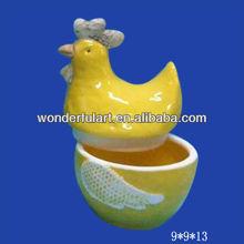 yellow wholesale easter cock porcelain jar