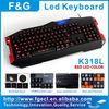 Professional led laptop keyboard with 15 programmable keys