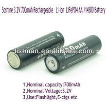 Soshine 14500 700mAh 3.2V Rechargeable Battery (2pcs)