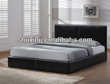 2014 modern hot-selling wooden leather beds designs