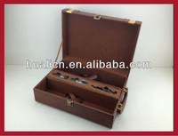 luxury leather wine bottle case with three wine accessories for sale