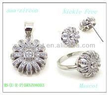 Rhodium Plated Brass Jewelry Cubic Zirconia Sweetie Jewelry Set