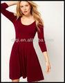 oem moda rojo vestido de manga larga para las señoras 2013 crewneck jersey vestido plisado vestidos ropa mujer ropa