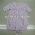 100% algodão listra rosa bebê smocked vestidos