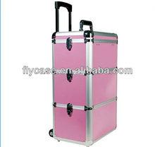 2014 new design Aluminum make up trolley beauty case in pink ,trolley cosmetic case ,trolley beauty case ,size :620*330*200MM