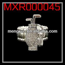 2013 yiwu fashion jewelry alloy STRETCHY RING - GOLF BAG