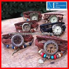 Fashion digital lady's leather watch strap wholesale leather bracelet watch