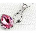 Big-de-rosa strass fantasia swan jóias pingente colar falso bijoux