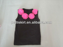 Latest Styles black Girl's petti tank top with pink flower for babies