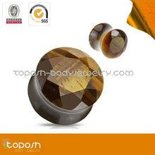 New style yellow tiger eye stone ear plugs body jewelry piercing