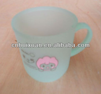 350ml plastic frosted coffee mug with printing