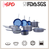 high quality FDA SGS 16 PCS hard-anodized Blue White Ceramic Cookware Set With Stainless Steel Handle