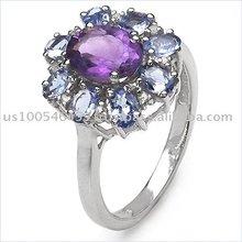 2.84ctw Genuine Amethyst, Tanzanite & Diamond .925 Sterling Silver Ring