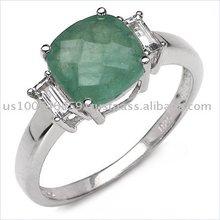 Significant 2.25ctw Genuine Emerald & White Topaz Ring