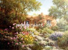 Handmade modern wall art village scenery handmade painting L095