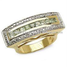 18 Karat Yellow Gold Plated 1.00 Carat Princess-Cut Genuine Green Sapphire Sterling Silver Ring