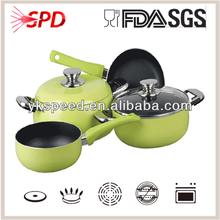 high quality SGS FDA 16 Pcs green eco ceramic coating nonstick aluminum cookware sets
