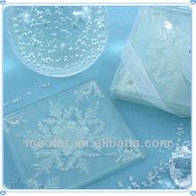 Fashionable Clear Glass Coaster Christmas Snowflake Decoration