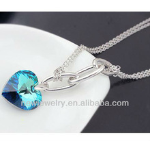 Blue Heart Of Ocean Pendant Necklace Jewelry Silver Plated Jewelry Wholesale