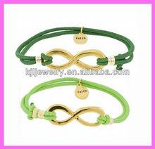 KJL-1312C clear gold infinity charm bracelet,infinity elastic string bracelet.