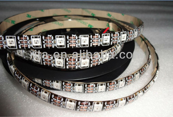 4m DC5V IP65 WS2812B led digital strip,60pcs WS2812B/M with 60pixels;57.6W;BLACK pcb;waterproof in silicon coating