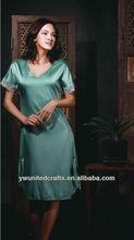 De calidad superior azul mujeres pijamas de seda