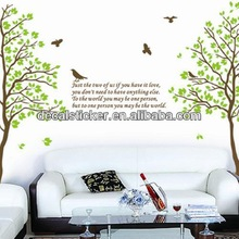 Hot Sale Fashion Green Tree&Birds Removable PVC Wall Stickers&Decals For Home Decor