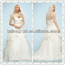 New Style Sweetheart Pleated Bodice Folds A-line Heart Neckline Wedding Dress