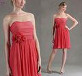 Lbm-001 novo império mangas Chiffon Red Dress dama 2013