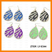 zebra stripe rhinestone tear drop earring