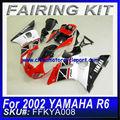 Para yamaha 2002 r6 carenagem kit vermelho& preto& branco