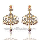 Antique Look 18K Gold Vermeil Jewelry Genuine Ruby & Diamond Victorian Style Dangle Earrings Wedding Jewelry