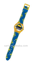 attractive funky simple plastic watch mixed bule and yellow coulour