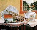 Handmade Still Life pinturas a óleo instrumento trompete pinturas a óleo
