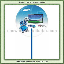 Round shape two sides full color printing pp hand fan,pp fan