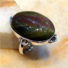 Bloodstone Jasper Silver Ring Size UK/US S/9.75 R281