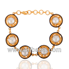 925 Sterling Silver Pearl Bracelets Manufacturers,925 Silver 18K Gold Pearl Bracelets Jewelry