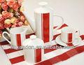 Kc-00436/keramik kaffeekanne/keramik weiß und rot kaffeekanne