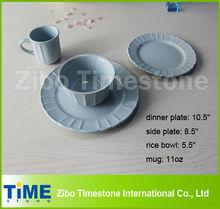 16pcs Light Blue Color Embossed Dinnerware Sets