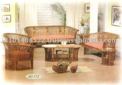 Teak Sofa Set Modern Design Kursi Tamu Kurung Indoor Furniture.